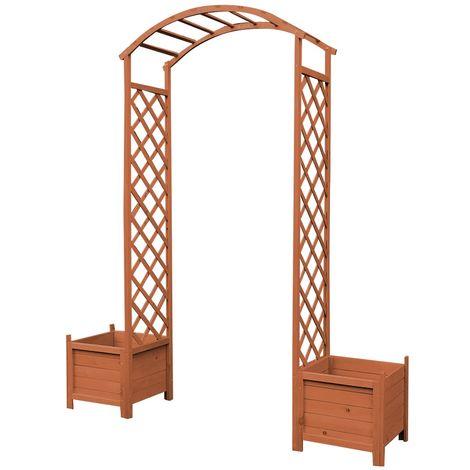 Arche de rose Grimpante brune Pot de fleurs Arche de treillis Pergola en bois