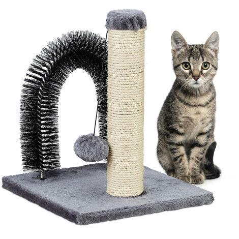 Arche pour chat avec griffoir, 2 en 1, arbre en sisal, soin du pelage et jeu, arc de massage, 37x30x30, gris
