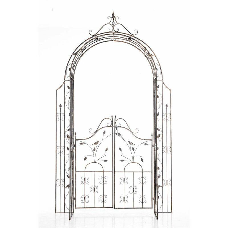 CLP - Arco de Flores para Jardín con Puerta Grenada Bronce
