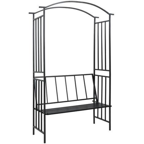 Arco de jardin con banco hierro negro 114x45x205 cm