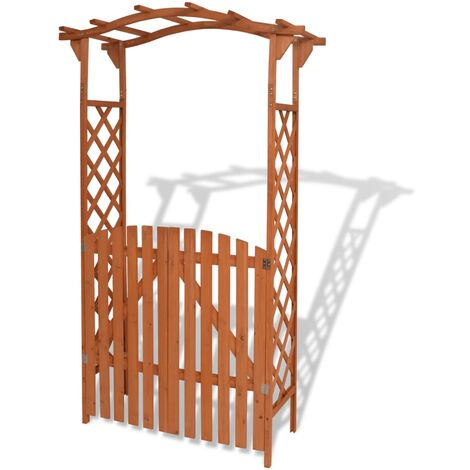 Arco de jardín con puerta de madera maciza 120x60x205 cm - Marrón