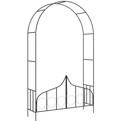 Arco de jardín con puerta hierro negro 138x40x238 cm - Negro