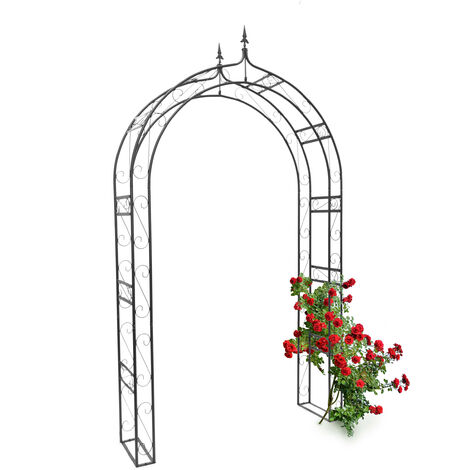 - Arco de metal con punta para rosas, arco de jardin para plantas, 242 x 138 x 35,5 cm, Material: polvo de hierro, trepadoras, negro