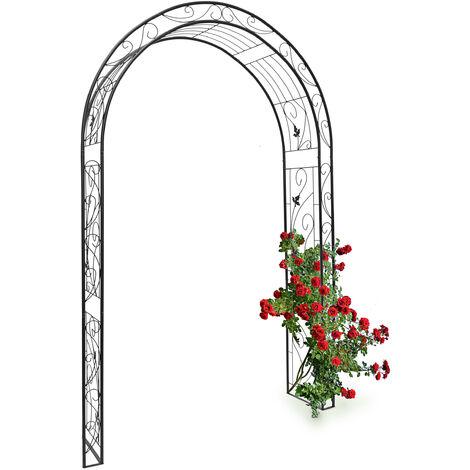 - Arco de metal con un estilo natural y figuras de aves, arco de jardin para plantas, 226 x 144 x 36,5 cm, Material: polvo de hierro, trepadoras, negro