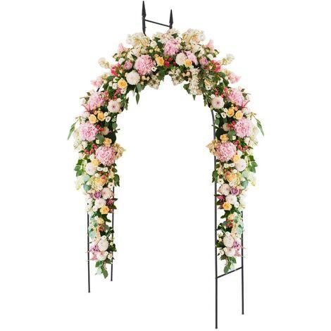 Arco de Rosas Arco de Metal para Jardín Soporte para Trepadoras 255x140x38 centímetros para Patio Terraza Decoración