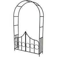 Arco para enredaderas de acero con puertas