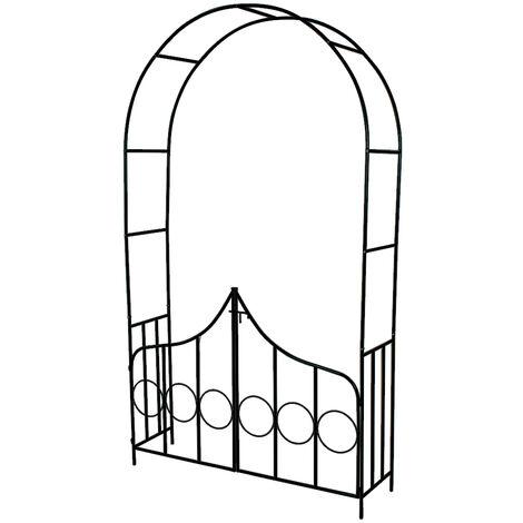 Arco para enredaderas de acero con puertas - arco para flores con entrada, arco de jardín de acero elegante para plantas, soporte para planta trepadora - verde