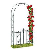 Arco para rosas con puerta, Soporte para trepadoras, Metal, 230 x 113,5 x 36,5 cm, Verde