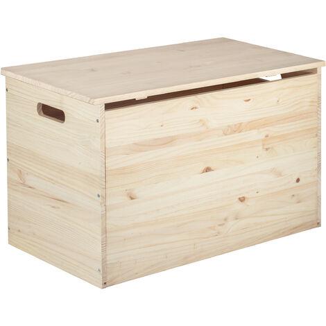 Arcón baúl de almacenaje de madera maciza de pino 50x80x40cm