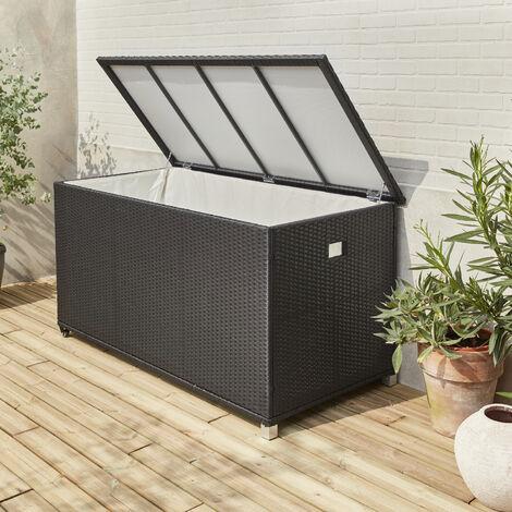 Arcón de almacenaje, Rattan sintetico, Negro | Cassapanca