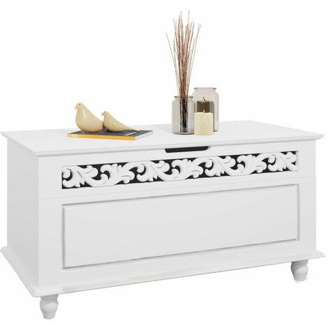 Arcón de Madera Blanco Cofre con Diseño rústico Banco de Asiento 80 x 40 x 48 cm Caja baúl Almacenamiento y decoración Baúl jersey
