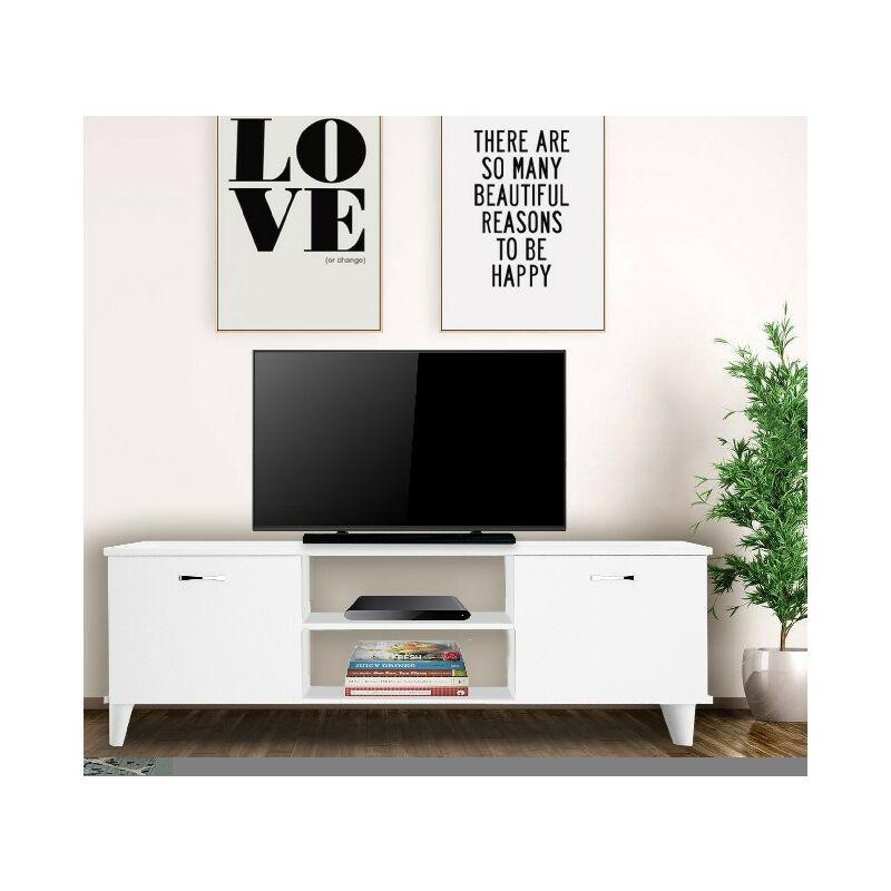 Homemania - Ardin TV-Schrank - mit Tueren, Regalen - aus dem Wohnzimmer - Weiss aus Holz, Metall, Kunststoff, 140 x 30 x 43 cm