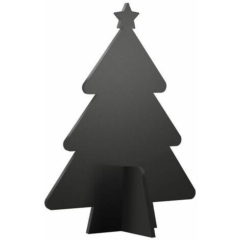 Ardoise de table silhouette 3D noire modèle Sapin de Noël + 3 feutres-craie - Décoration Noël ardoise restaurant - Bois - 3 - Bois