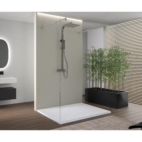 Área de ducha sin puerta EX105 en cristal auténtico nano - transparente - medida a elegir