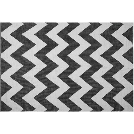 Area Rug 140 x 200 cm Black and White KONARLI