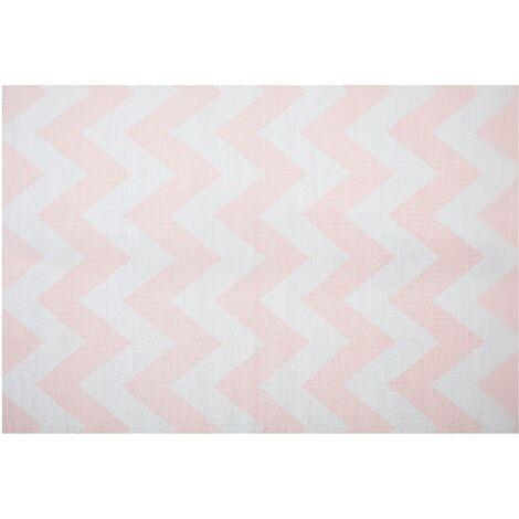 Area Rug 140 x 200 cm Pink and White KONARLI