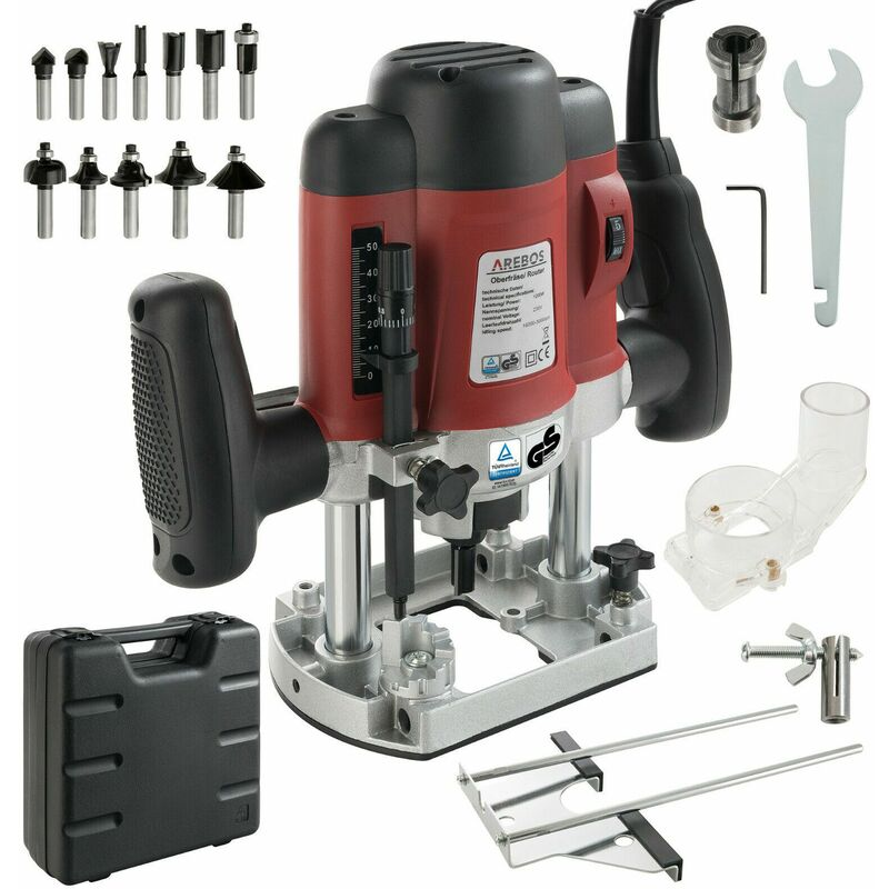 Image of 1200W Plunge Router Kit Set incl.12 Router Bits Heads + Carry Case - Arebos