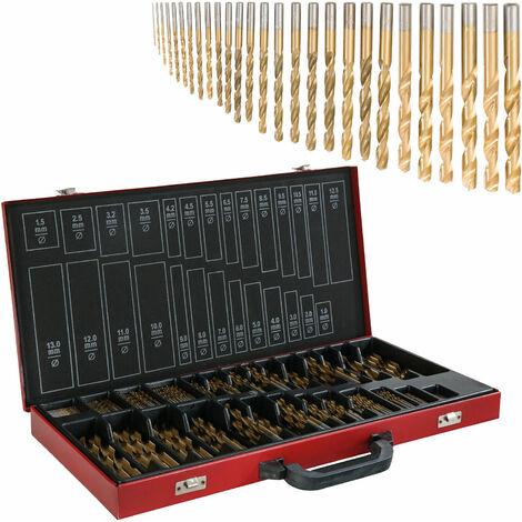 Arebos 230 pièces Titane Drill Bit Set HSS Forets Titanés Acier 1-13 mm Coffret - noir