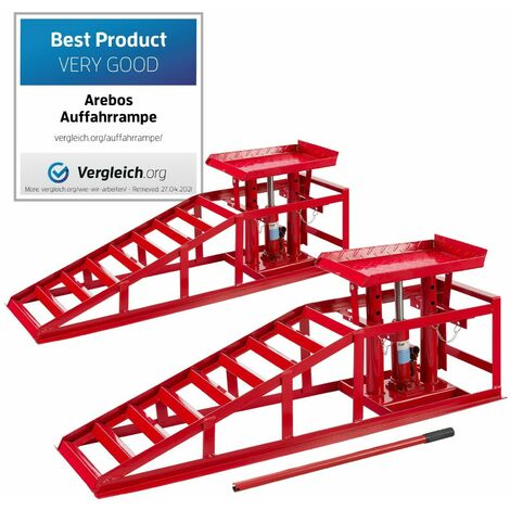 AREBOS 2x Rampa de acero para coche Elevador hidráulico de altura regulable Rampa 2 T - rojo