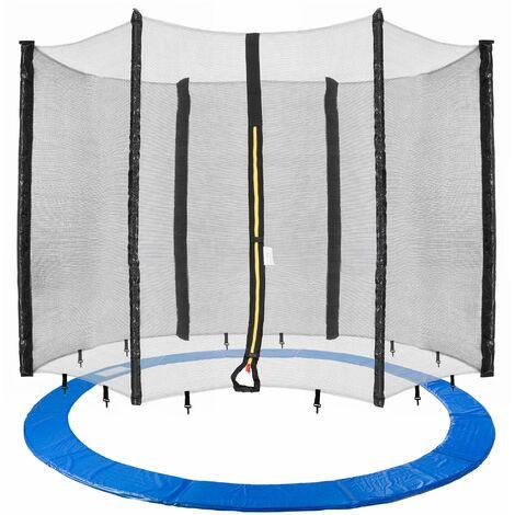 Arebos 430 cm Coussin de protection pour trampoline + filet pour 6 tiges - bleu