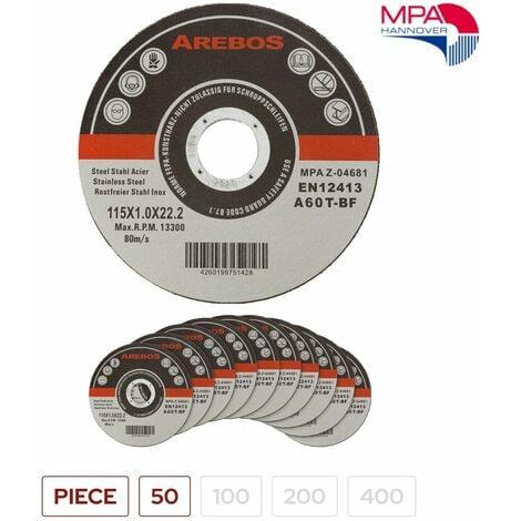 Arebos 50/100/200/400 Disco de Corte inox Ø 115 mm