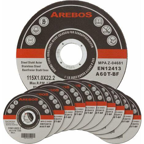 Arebos 50/100/200/400 disques fins à tronçonner l'acier inox Ø 115 x 1 mm Métau pour Meuleuses