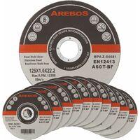 Arebos 50/100/200/400 disques fins à tronçonner l'acier inox Ø 125 x 1 mm Métau pour Meuleuses