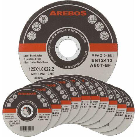 """main image of """"Arebos 50/100/200/400 disques fins à tronçonner l'acier inox Ø 125 x 1 mm Métau pour Meuleuses"""""""