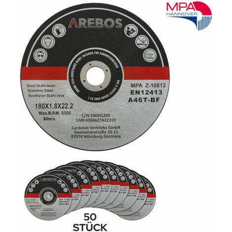 AREBOS 50 Stück Trennscheiben Ø180 x 1,8mm Inox Edelstahl Metall Extradünn Flexscheiben