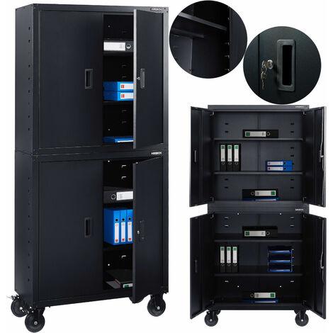 AREBOS Aktenschrank Büroschrank Lagerschrank Materialschrank mit Räder + Einlegeböden Schwarz 180x40x90cm