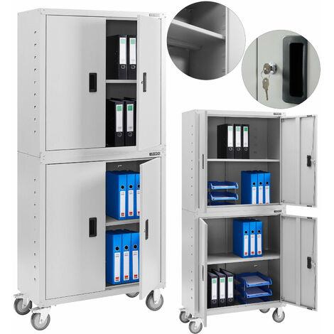 AREBOS Aktenschrank Büroschrank Lagerschrank Materialschrank mit Räder Grau 180x40x90cm