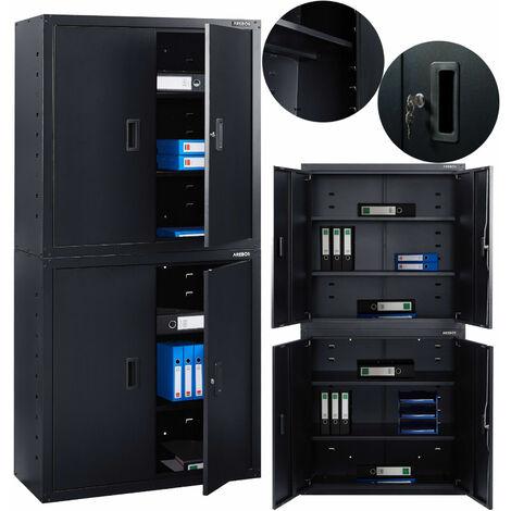 AREBOS Aktenschrank Büroschrank Lagerschrank Materialschrank Stahlschrank + 4 Einlegeböden Schwarz 180x40x90cm