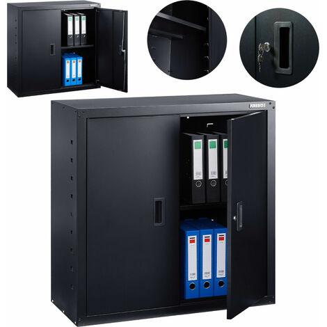 AREBOS Aktenschrank Büroschrank Lagerschrank Materialschrank Stahlschrank Schwarz 90 x 40 x 90 cm - Schwarz