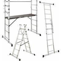 Arebos Andamio de trabajo escalera de andamio Aluminio Escalera Plataforma
