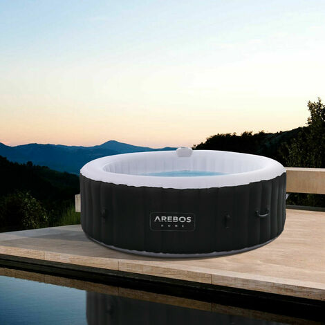 AREBOS Arebos In-Outdoor Whirlpool Spa Pool Wellness Heizung Massage Aufblasbar Rund - schwarz