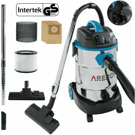 AREBOS Aspirador Industrial Aspirador en Seco y Húmedo 1600W 30L Azul - Blau
