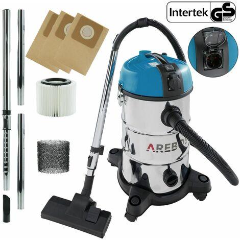 AREBOS Aspirador Industrial Aspirador en Seco y Húmedo 2300W 30L Azul - Blau