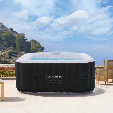 Arebos aufblasbarer Whirlpool In-Outdoor - 4 Personen – 130 Düsen - 154 x 154 cm – 550 Liter - Spa Pool - Massage, Heizung, Wellness - schwarz