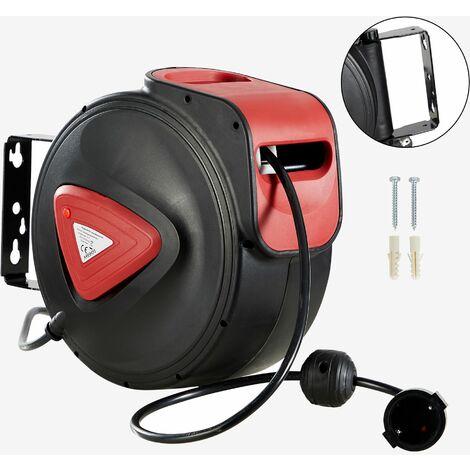 AREBOS Automatique Tambour De Câble Bobines De Câble Fil Électrique Enrouleur De Câble 15 m - Negro