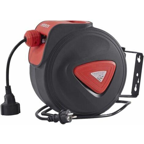 AREBOS Automatique Tambour De Câble Bobines De Câble Fil Électrique Enrouleur De Câble 20 m - Noir
