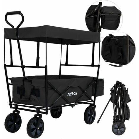 AREBOS Bollard Trolley Foldable Roof Hand Trolley Transport Cart Equipment Cart Black - black