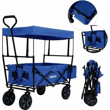 AREBOS Bollard Trolley Foldable Roof Hand Trolley Transport Cart Equipment Cart Blue - blue