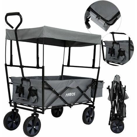 AREBOS Bollard Trolley Foldable Roof Hand Trolley Transport Cart Equipment Cart Grey