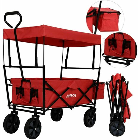 AREBOS Bollard Trolley Foldable Roof Hand Trolley Transport Cart Equipment Cart Red - red