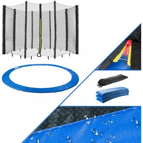 AREBOS Borde de Cama Elástica + Red Protección de los Bordes 396 cm 8 Barras - azul