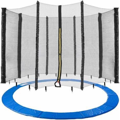 Arebos Borde de Cama Elástica + Red Protección de los Bordes 460 cm 8 Barras
