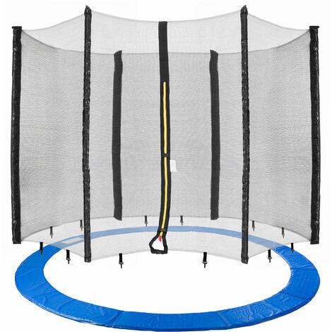 Arebos Borde de Cama Elástica + Red Protección de los Bordes 490 cm 6 Barras - azul