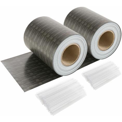 AREBOS Brise-Vue Pour Balcon Store Enrouleur Brise-Soleil PVC Rotin Anthracite 70 m Long - Anthracite