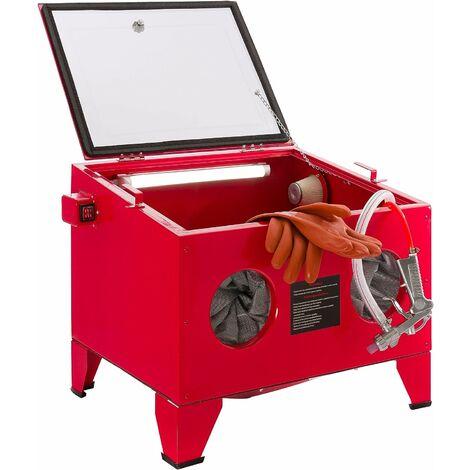 AREBOS Cabine de Sablage | Sableuse Installation de Grenaillage Au Sable - rouge
