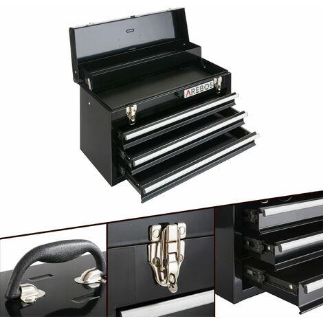 Arebos Caja de Herramientas 3 Cajones Negro